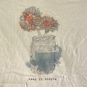 Life Is Good Keep It Simple Flower Mason Jar Tee M